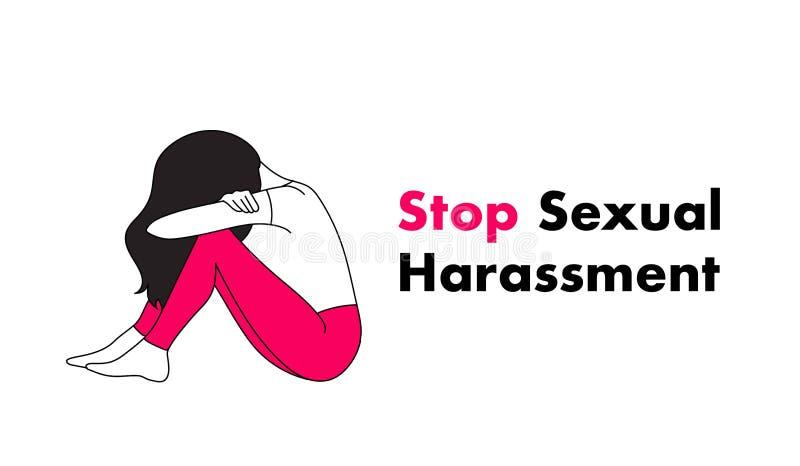 Sexuelle Belästigung und Vektorgrafik stoppen Rechtsverletztes Mädchen, das aggressives Verhalten leidet stock abbildung