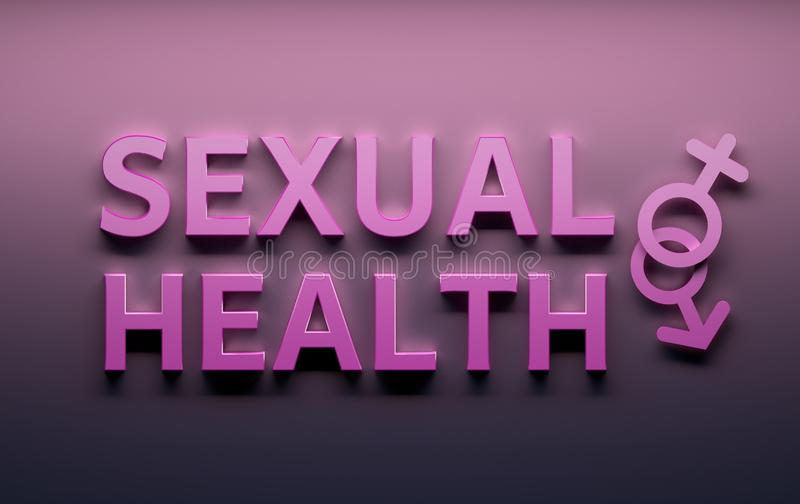 Sexuelle Gesundheitsw?rter mit Geschlechtszeichen des m?nnlichen Geschlechts auf rosa Hintergrund vektor abbildung