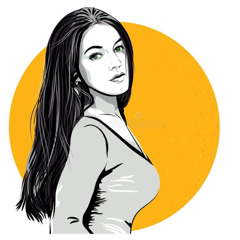 Sexy überraschte Frau Vektor in der Pop-Arten-Art Art Graphic Design vektor abbildung