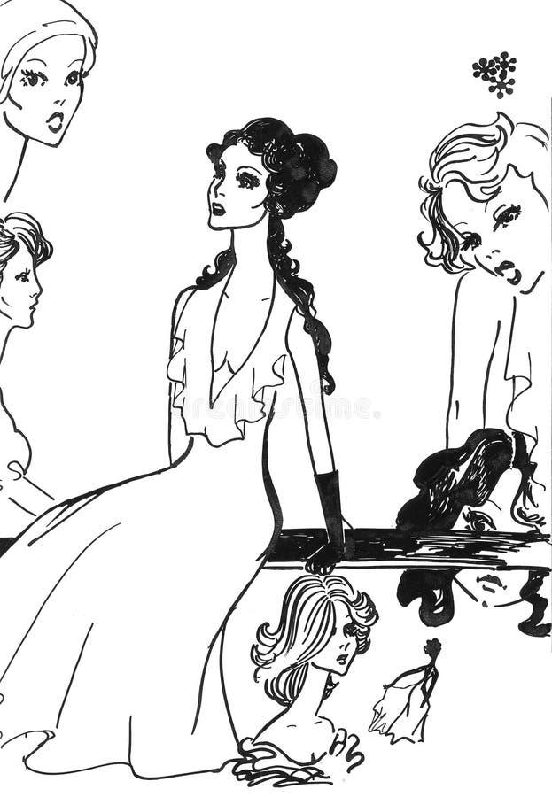 Sexy aantrekkingskracht zwarte meisjes stock illustratie