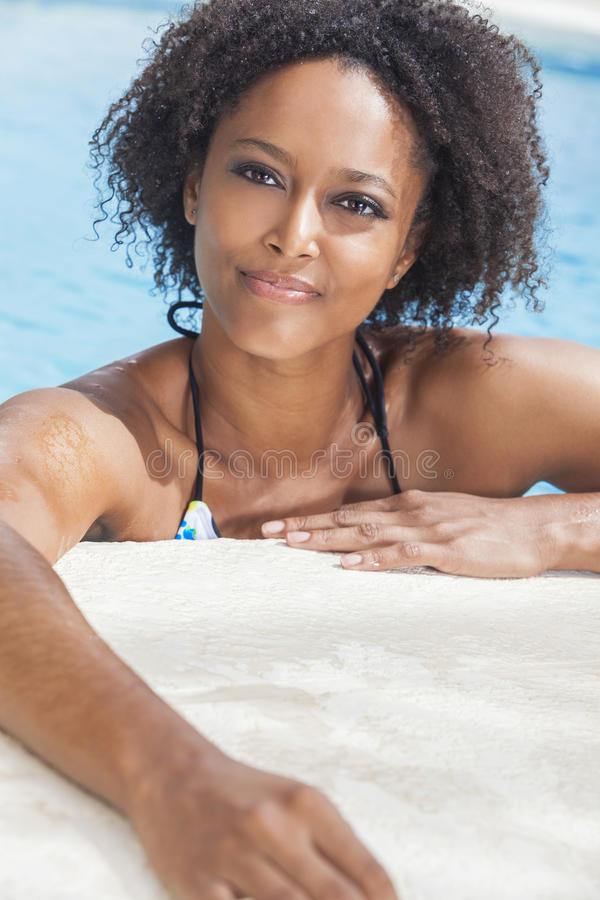 African American Woman Girl In Swimming Pool stock image