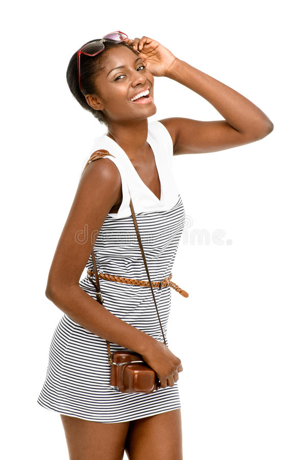 African American woman portrait on white background stock photo