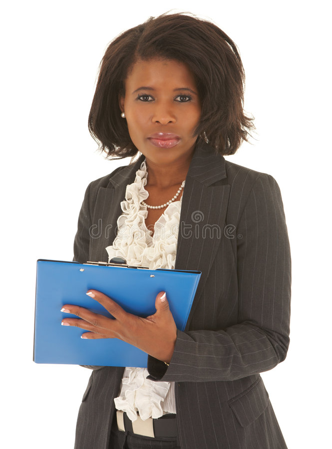 African businesswoman. Young adult african businesswoman in a business suit on a white background. NOT ISOLATED stock photography