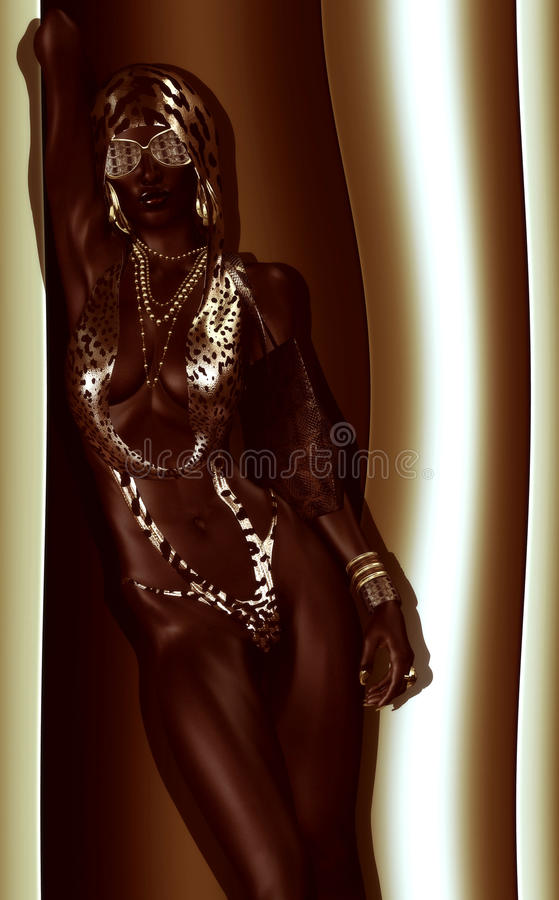 African Woman in Revealing Leopard Print, One Piece Bathing Suit. African American Woman Digital Model in Leopard Print Fashion with Beautiful Cosmetics and Head vector illustration