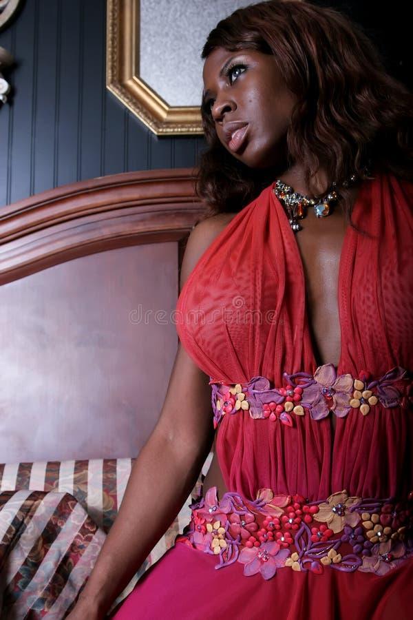Sexy Afrikaanse Amerikaanse vrouw stock afbeeldingen