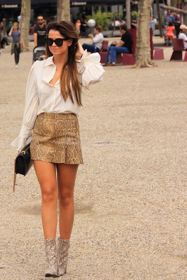 Free Sexy Amsterdam Dutch Girl At Fashion Week Leather Mini Skirt Stock Image - 128967401