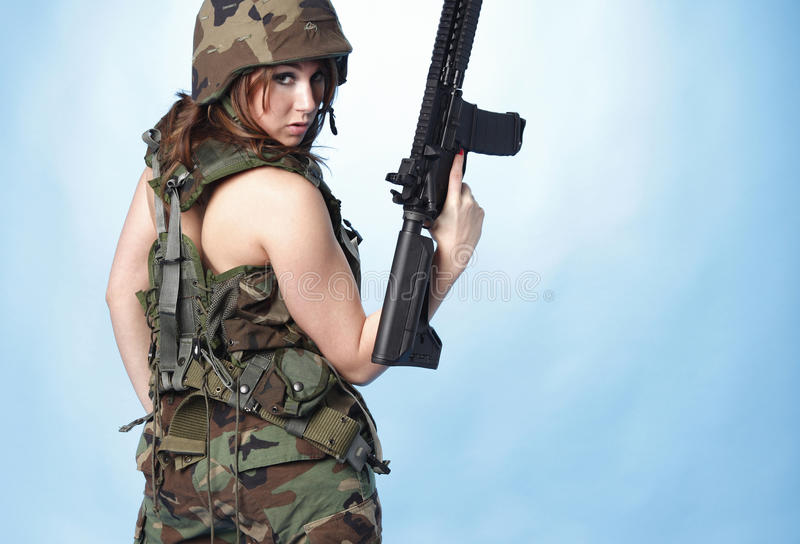 Download Army woman stock photo. Image of girl, young, indoor - 17402960