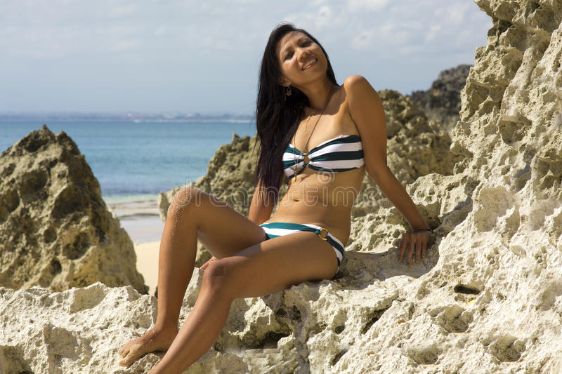 Asian Girl at Exotic Beach royalty free stock images
