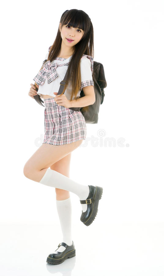 Asian girl student in school uniform. Is asian girl student in school uniform stock photos
