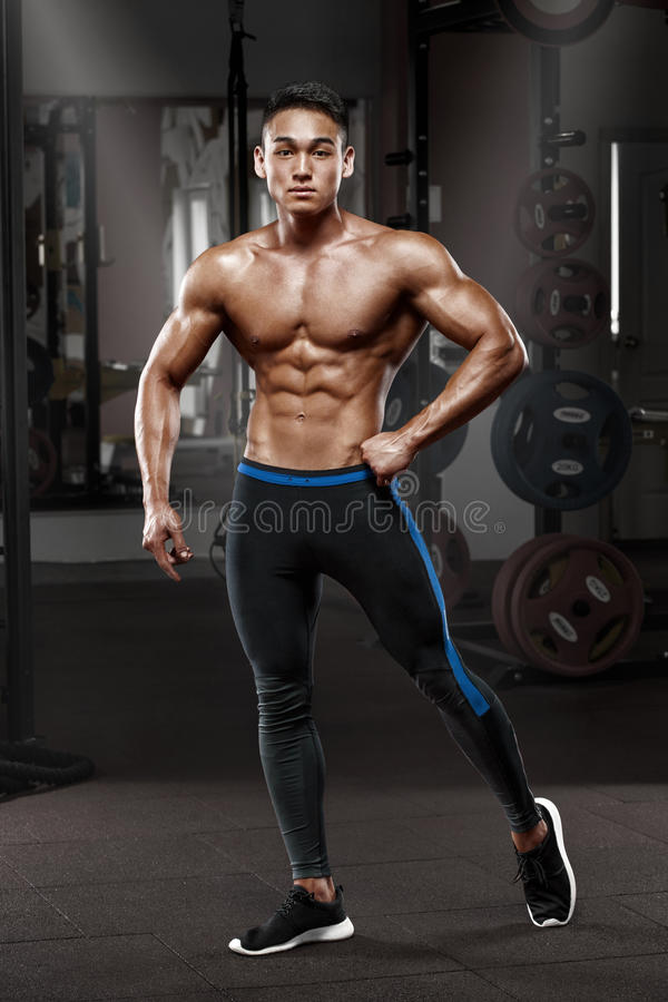 Asian Muscular Man Posing In Gym, Shaped Abdominal Strong -7660