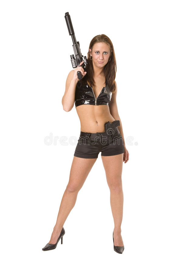 Assassin. Very and seductive female assassin gets ready for her next assignment stock images