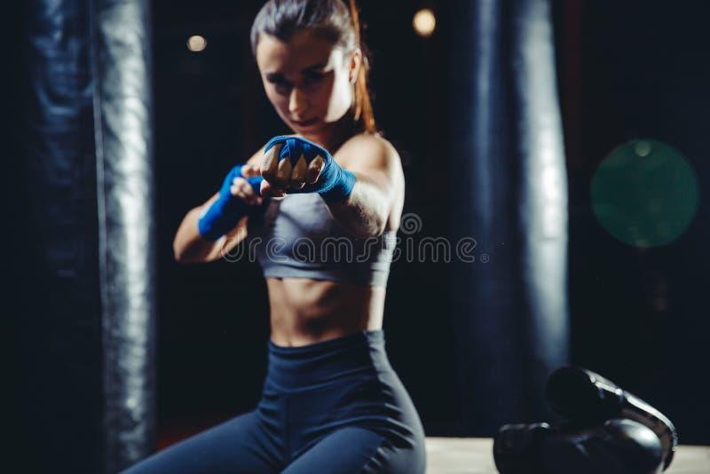 Girl athlete Boxing MMA royalty free stock photos