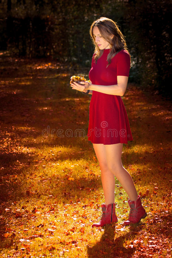 Autumn woman. Red dress sad woman in autumn with leafs in hands stock images