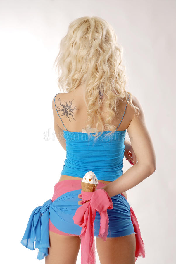 Download Back and Ice Cream stock photo. Image of blond, hair - 12150476