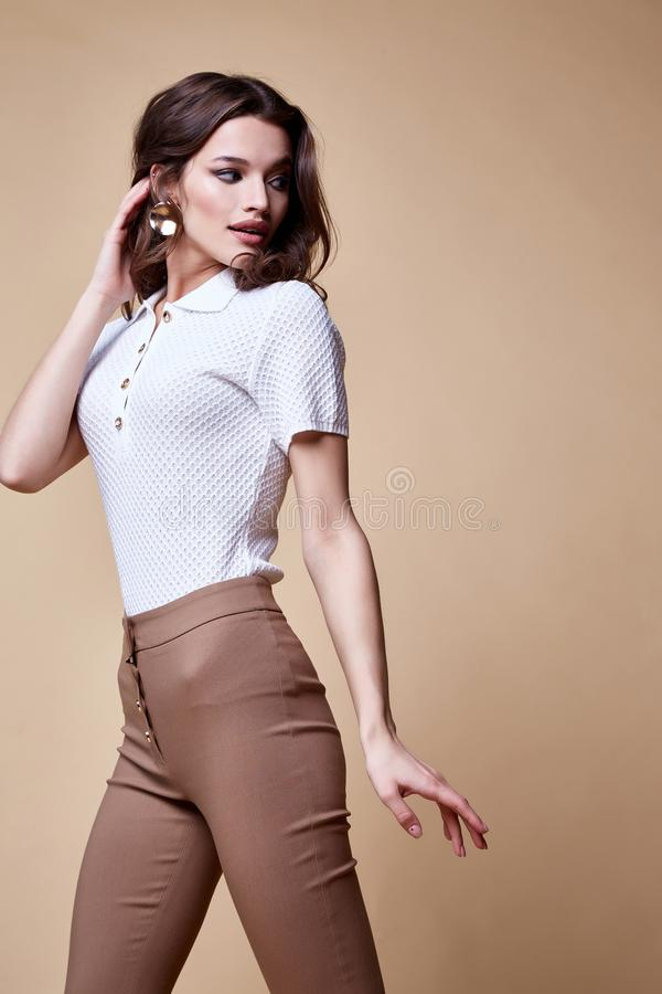 Sexy beautiful woman fashion glamour model brunette hair makeup wear silk blouse trousers clothes for every day casual party style. Accessory date walk girl royalty free stock images