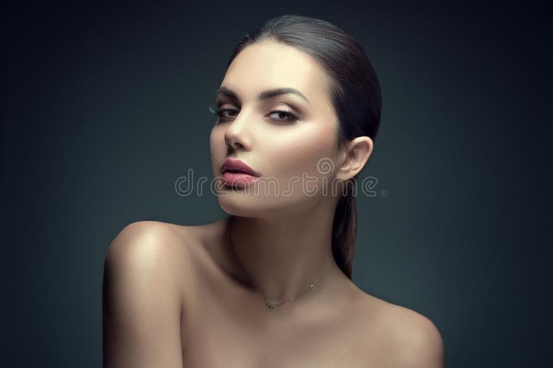 Sexy beauty brunette woman with perfect makeup. Beauty girl`s face on dark background. Skincare royalty free stock photo