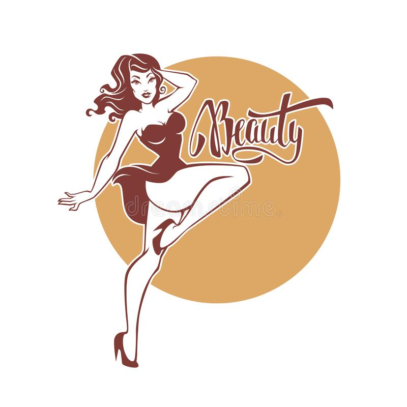and beauty retro pinup girl and lettering beauty for your l stock illustration