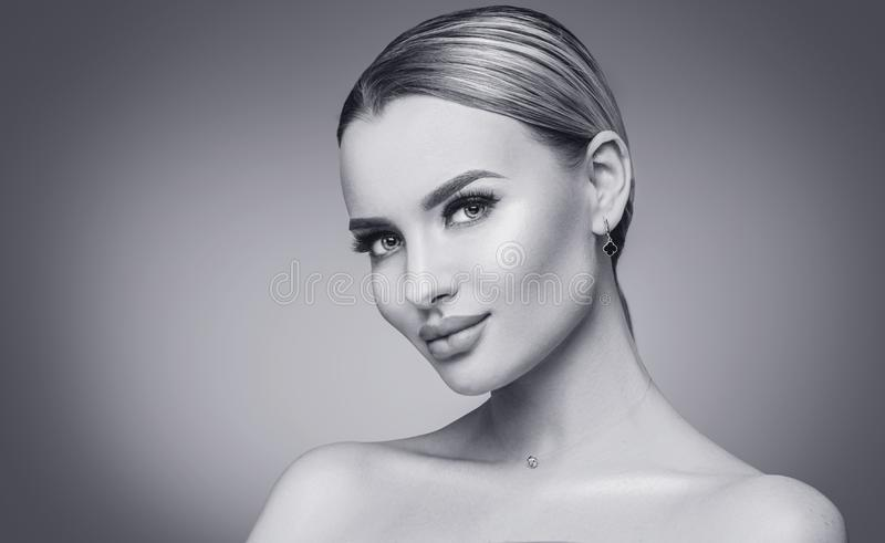 Sexy beauty woman black and white portrait. Spa model girl with fresh clean skin. Blonde beauty woman royalty free stock images