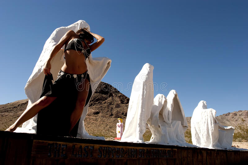 Bellydancer. In ghost town royalty free stock images
