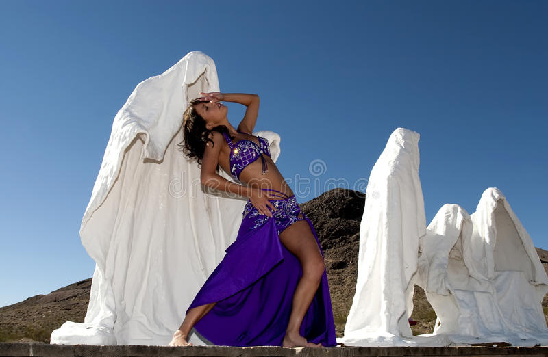 Bellydancer. In ghost town royalty free stock photography