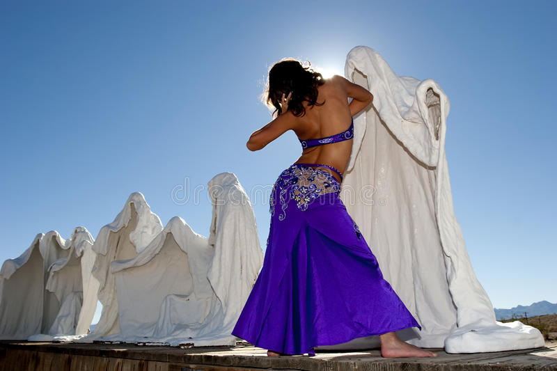 Bellydancer. In ghost town stock images