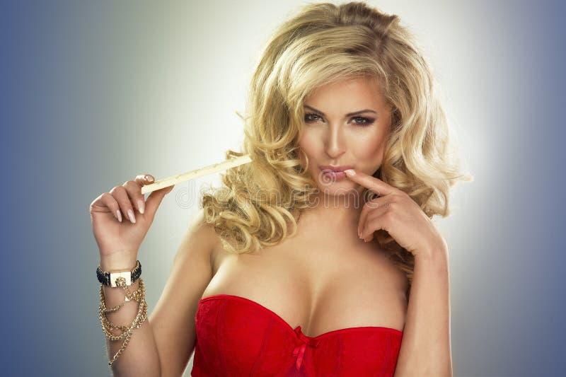 Sexy bezaubernde junge blonde Frau stockfotografie