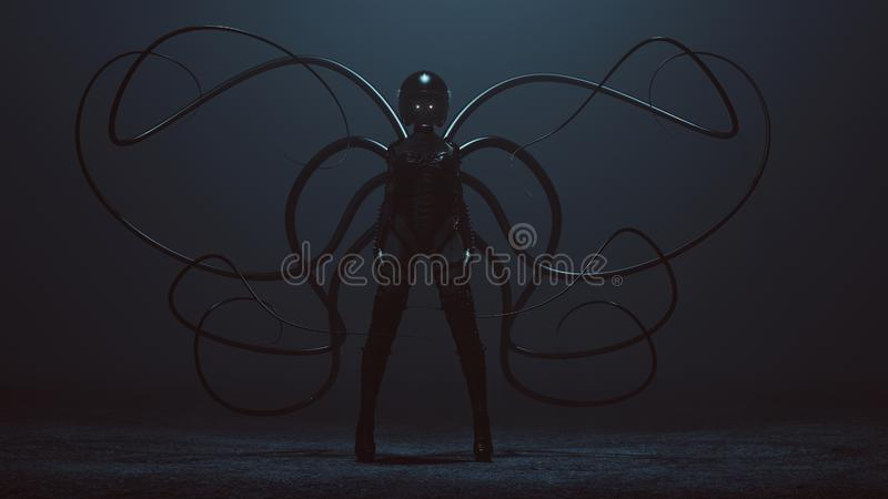Sexy Biker Demon Woman in a Bodice an Leather Boots and Crash Helmet With Tactile Tentacles in a foggy void. 3d Illustration 3d render vector illustration