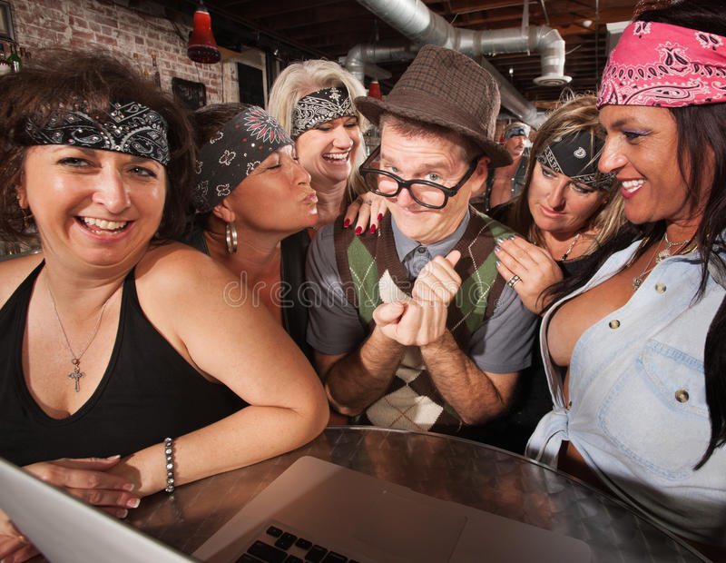 Download Biker Ladies With Smiling Nerd Stock Image - Image: 28774615