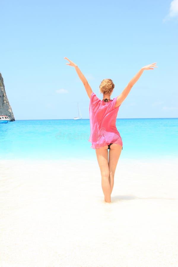 Sexy bikinimodel stock afbeeldingen