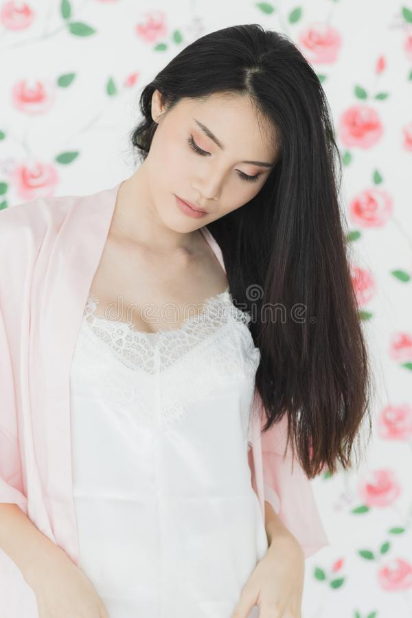 Sexy black hair Asian woman model standing royalty free stock photo