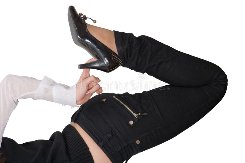 black leather stiletto boots stock photography