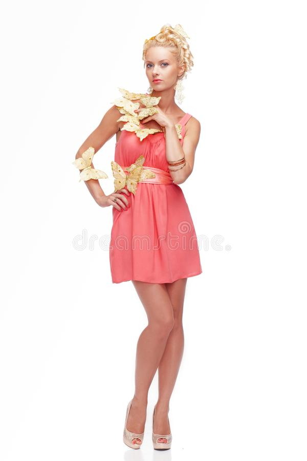 blond female in pink dress royalty free stock photos