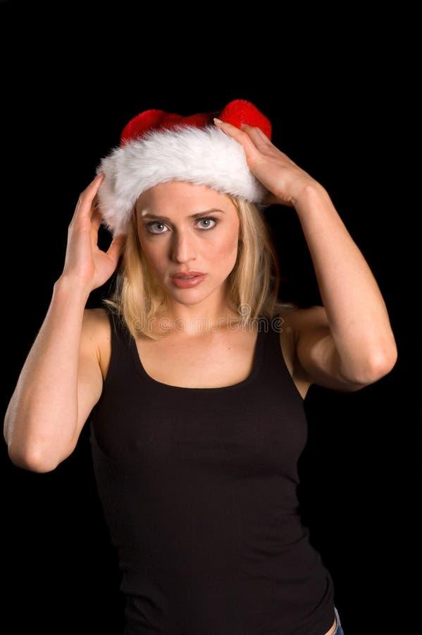 blond female Santa royalty free stock images