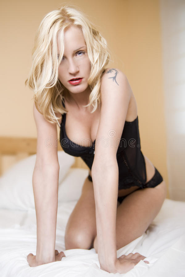 Download Blond girl on the bed stock photo. Image of corset, beauty - 14843066