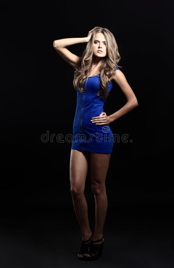 blond lady in blue dress isolated royalty free stock photography