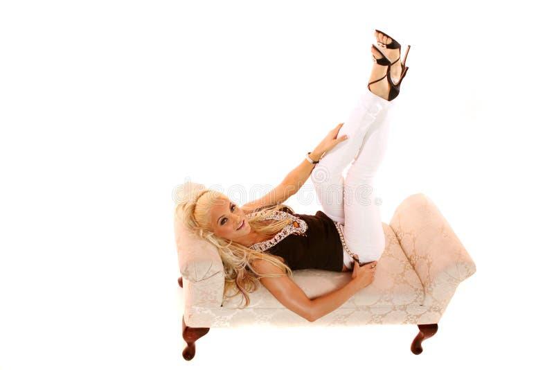 Sexy blond meisje stock foto