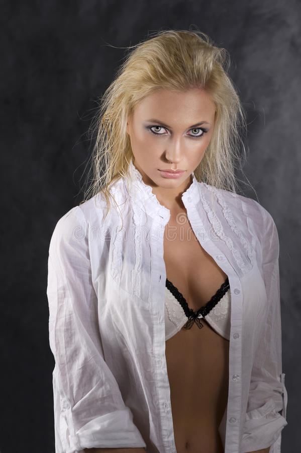 Download Blond with wet hair stock image. Image of black, model - 13900801