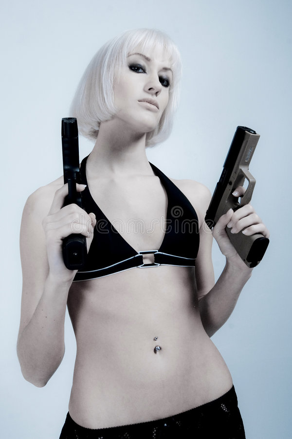 Download Blond woman with guns stock photo. Image of caucasian - 8519400