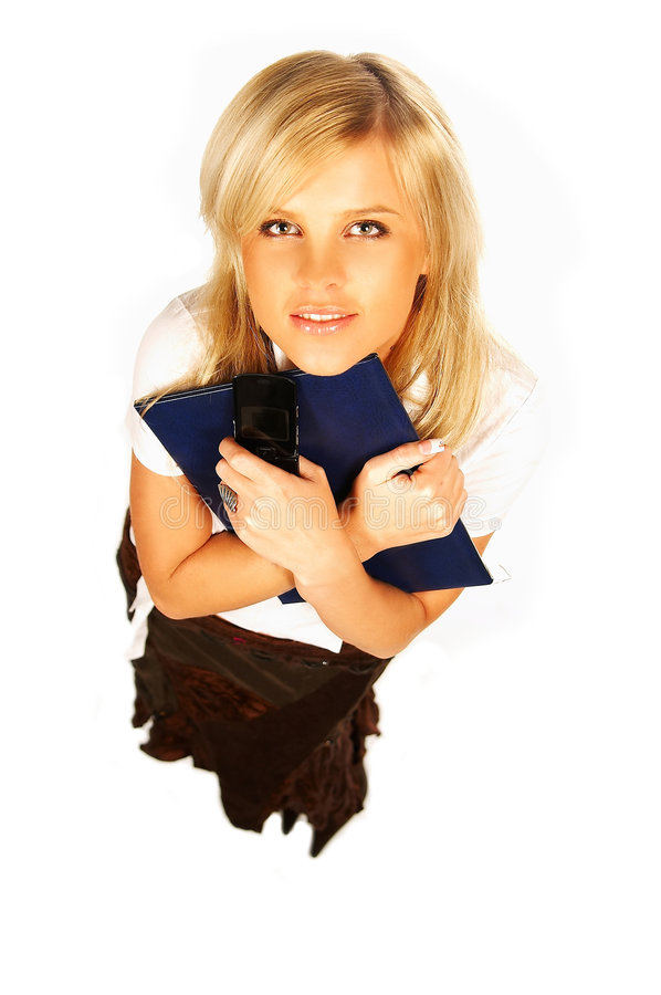 blond women holding cell phone and folder on white stock photo