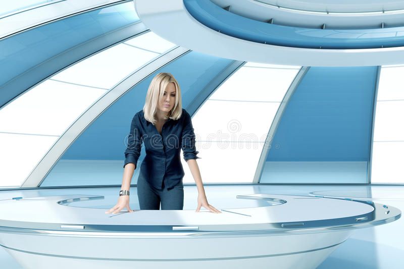 blonde boss in future interior office room royalty free stock photo