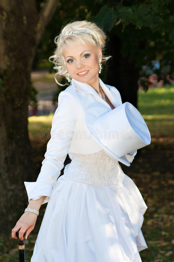 Download Blonde bride in the park stock image. Image of beautiful - 34257241