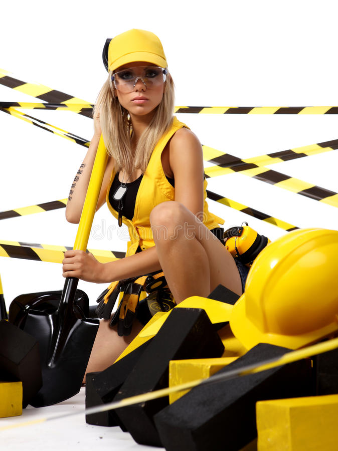blonde construction worker royalty free stock photography