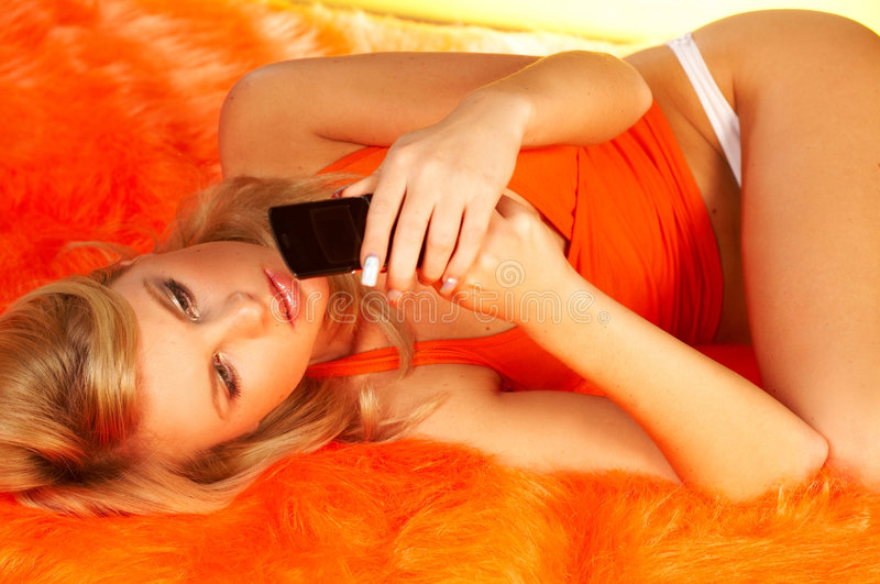 Download Blonde Girl With Cell Phone Stock Photography - Image: 511702