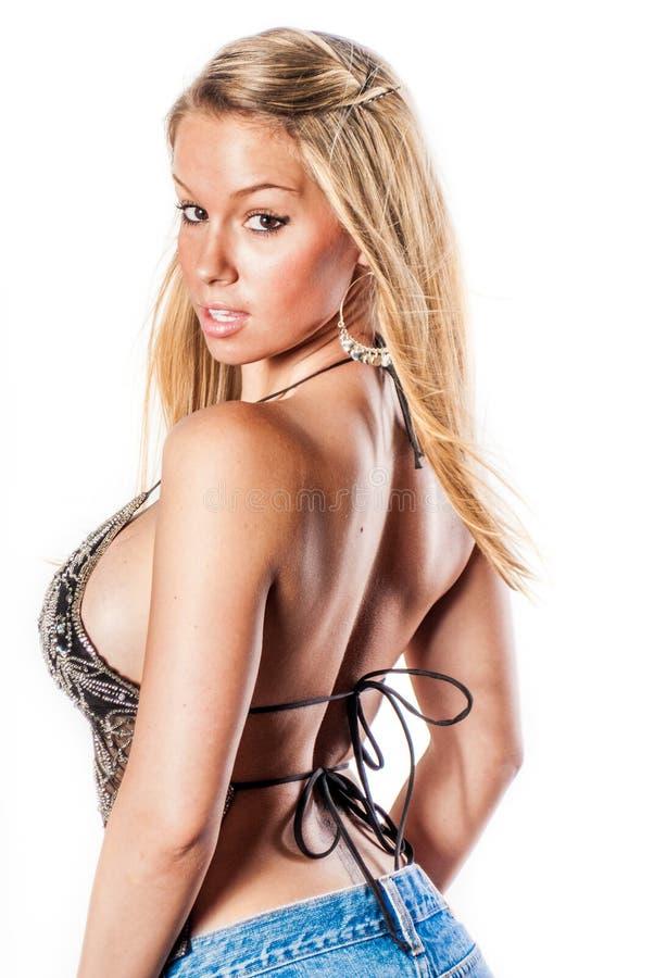 blonde girl / fashion model royalty free stock photography