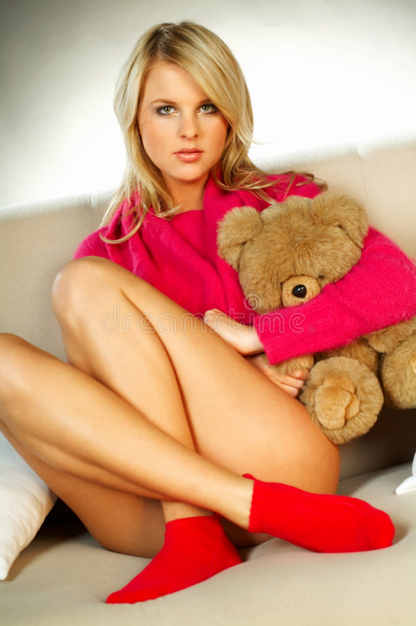 Download Blonde Girl With Teddy Bear Stock Image - Image of attractive, chick: 512693
