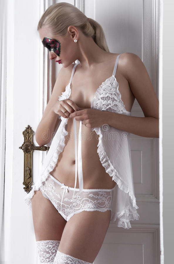 Download Blonde Posing In White Lingerie Stock Image - Image: 21249337
