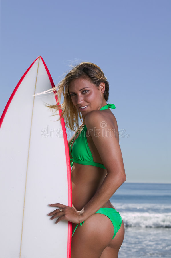 Sexy Blonde Surfer stock afbeelding