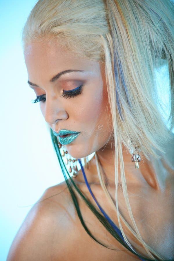 Sexy blonde vrouw stock foto