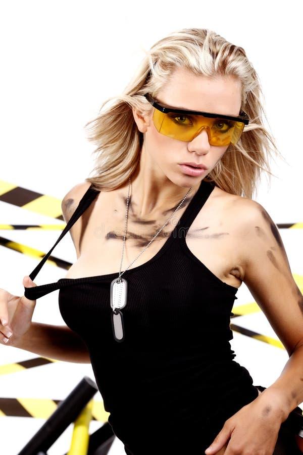 Sexy blonde vrouwelijke arbeider royalty-vrije stock foto's
