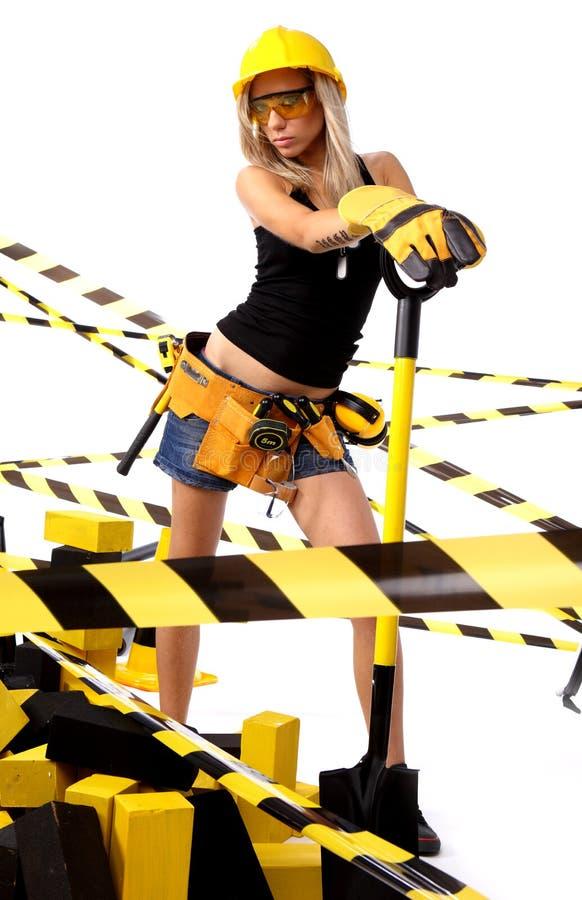 Sexy blonde vrouwelijke bouwvakker royalty-vrije stock fotografie